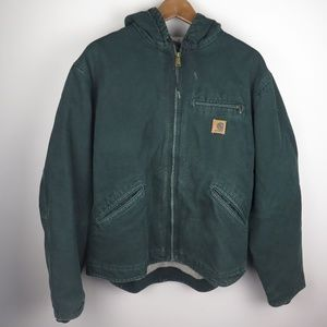 Carhartt Green Sherpa Thick Heavy Hood Jacket USA